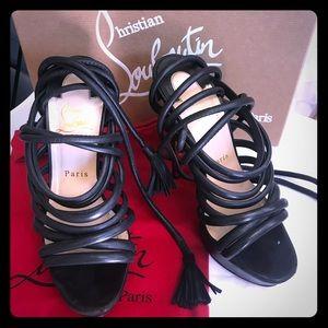 Black wrap around strappy heels